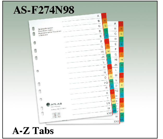 Atlas Divider A to Z Paper AS F274N98
